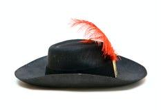 Chapéu negro com pena fotografia de stock royalty free