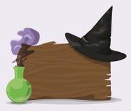 Chapéu preto do feiticeiro na parede de madeira com poção mágica, ilustração do vetor Foto de Stock Royalty Free
