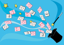 Chapéu superior com cartões mágicos Fotos de Stock Royalty Free