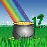 Chapéu verde do potenciômetro e do duende Dia feliz do St Patricks Imagens de Stock