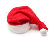 Chapéu vermelho de Papai Noel no branco fotografia de stock royalty free