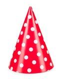 Chapéu vermelho do partido isolado em um fundo branco fotos de stock royalty free