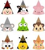 Chapéus animais do partido Imagens de Stock