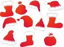 Chapéus, carregadores e sacos de Santa Imagem de Stock