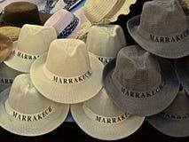 Chapéus em um souk em C4marraquexe, Marrocos Imagens de Stock