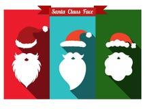 Chapéus de Papai Noel e ícones lisos das barbas com sombra longa ilustração do vetor