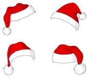 Chapéus de Santa ilustração stock
