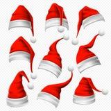 Chapéus de Santa Claus Chapéu vermelho do Natal, mantilha peludo do xmas e grupo do vetor da decoração 3D do desgaste da cabeça d ilustração royalty free