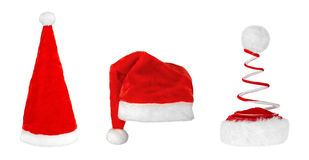Chapéus diferentes de Santa Claus Fotografia de Stock