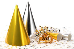 Chapéus do partido e flâmula de papel Foto de Stock Royalty Free