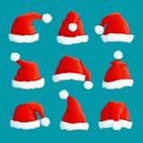 Chapéus do vermelho de Santa Tampões engraçados do Natal Santa veste o chapéu morno Grupo isolado do vetor ilustração stock