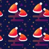 Chapéus e estrelas vermelhos de Santa Vector o teste padrão sem emenda ilustração royalty free