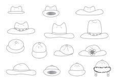 Chapéus lineares dos desenhos animados da variedade Fotos de Stock