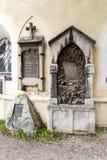 Chapa comemorativa de pedra velha em uma igreja Fotografia de Stock