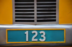 Chapa de matrícula com número 123 Fotos de Stock Royalty Free