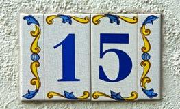 Chapa de matrícula 15 da rua Imagem de Stock