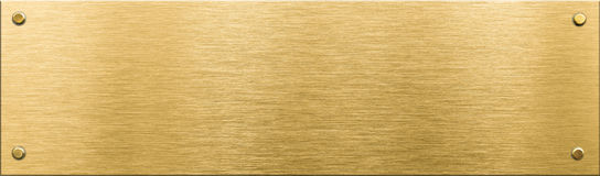 Chapa de metal do ouro ou nameboard com rebites Fotografia de Stock Royalty Free