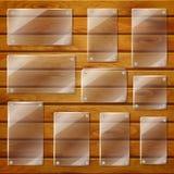 Chapa de vidro transparentes em pranchas de madeira Foto de Stock Royalty Free