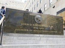 Chapa do memorial de Rockefeller Fotografia de Stock Royalty Free