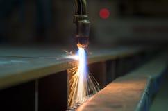 Chapa metálica do corte de tocha do acetileno do oxigênio Imagem de Stock