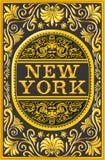 Chapa, preto e ouro da etiqueta de New York do vintage Foto de Stock