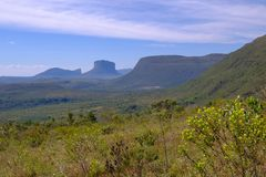 Chapada Diamantina National Park landscape in the Vale Do Capao valley, with the Morro Do Morrao mountain, Bahia, Brazil. View of the Chapada Diamantina royalty free stock images