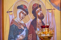 The icon of saints Peter and Fevronia. Symbol of love and loyalty. Chapaevsk, Samara region, Russia-February 18, 2019: Church of the Kazan icon of the Mother of stock photography
