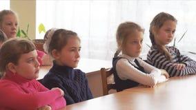 School kids sit at desks. CHAPAEVSK, SAMARA REGION, RUSSIA - FEBRUARY 02, 2018: School kids of elementary school sit at desks in the classroom stock video