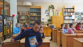 Primary school students at their desks in the classroom. Chapaevsk, Samara region, Russia - May 10, 2019: Elementary school of the city of Chapaevsk. Primary stock video