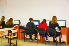 Students in the computer class. CHAPAEVSK, SAMARA REGION, RUSSIA - NOVEMBER 24, 2017: The College of Chapaevsk city. Students in the computer class Stock Photo