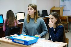 Students in the computer class. CHAPAEVSK, SAMARA REGION, RUSSIA - NOVEMBER 27, 2017: The College of Chapaevsk city. Students in the computer class Royalty Free Stock Image