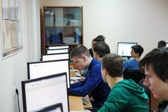 Students in the computer class. CHAPAEVSK, SAMARA REGION, RUSSIA - NOVEMBER 27, 2017: The College of Chapaevsk city. Students in the computer class Royalty Free Stock Photography