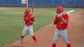 2019 Chaparral Firebird Baseball at Pinnacle Pioneers. Enzo Apodaca, Chaparral and Tyler Stone, Chaparral on deck during Chaparral Firebirds vs. Pinnacle royalty free stock photo