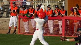 2019 Chaparral Firebird Baseball vs. Corona del Sol Aztecs. Enzo Apodaca, Chaparral during Chaparral Firebirds vs. Corona del Sol Aztecs at Chaparral High School royalty free stock photography