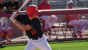 2019 Chaparral Firebird Baseball vs. Desert Mountain. Trevor Long, Chaparral Batter during the Opening Series of the Chaparral Firebirds vs. Desert Mountain stock image