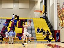 2018-19 Chaparral Firebird Basketball vs. Sandra Day O`Connor Eagles. Jake Tenberge from Chaparral dunks the ball into the hoop at Chaparral Firebirds vs. Sandra stock photos