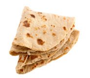 Chapati. Chapathi, chapatti or flatbread, famous indian basic food isolated on white background stock photography