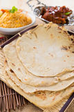 Chapati or Flat bread, Indian food, made from wheat flour dough. Royalty Free Stock Photos