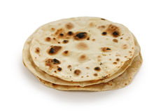 Chapati , indian unleavened flatbread. On white background royalty free stock image