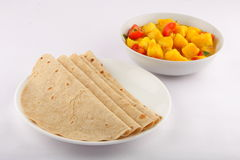 Chapati with potato  curry. Indian Chapati with potato  curry Royalty Free Stock Images