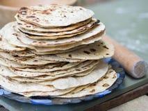 chapati Producten van bloem worden gemaakt die Gekookt op water royalty-vrije stock afbeelding