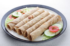 Chapati rolls. Indian flat-bread called chapati rolls with vegetable Royalty Free Stock Photos