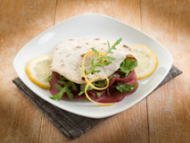 Chapati sandwich  with bresaola Royalty Free Stock Photography
