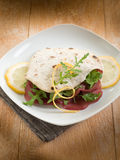 Chapati sandwich with bresaola royalty free stock photos