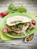 Chapati with tofu arugula. Vegetarian sandwich, chapati with tofu arugula and mustard royalty free stock photos