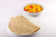 Chapati with vegetable curry. Royalty Free Stock Images