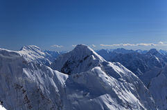 Chapayev peak and Pobeda peak, Tian Shan mountains Royalty Free Stock Photo