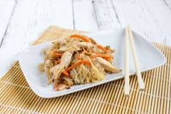 Chapchae - Asian dish of glass noodles with chicken and vegetabl Royalty Free Stock Photography