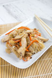 Chapchae - Asian dish of glass noodles with chicken and vegetabl Stock Photography