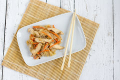 Chapchae - Asian dish of glass noodles with chicken and vegetabl Royalty Free Stock Image
